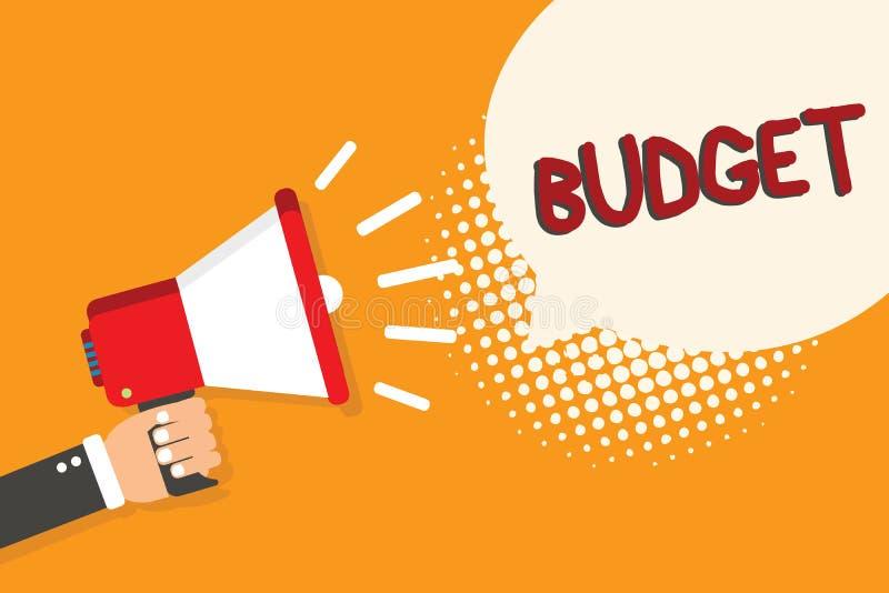 Skriva anmärkningsvisningbudgeten Affärsfoto som ställer ut den definierade bedömningen av inkomst och förbrukning för uppsättnin vektor illustrationer