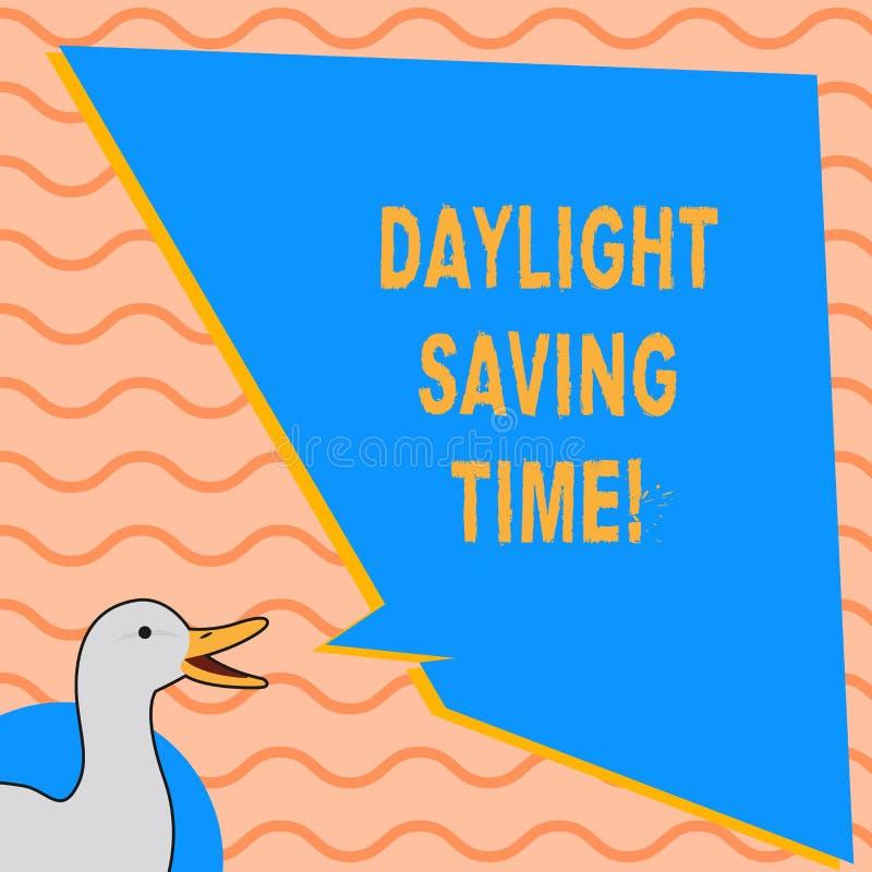 Skriva anmärkningsvisningdagsljus som sparar Tid Affärsfoto som ställer ut flyttande fram klockor under sommar för att spara elek stock illustrationer