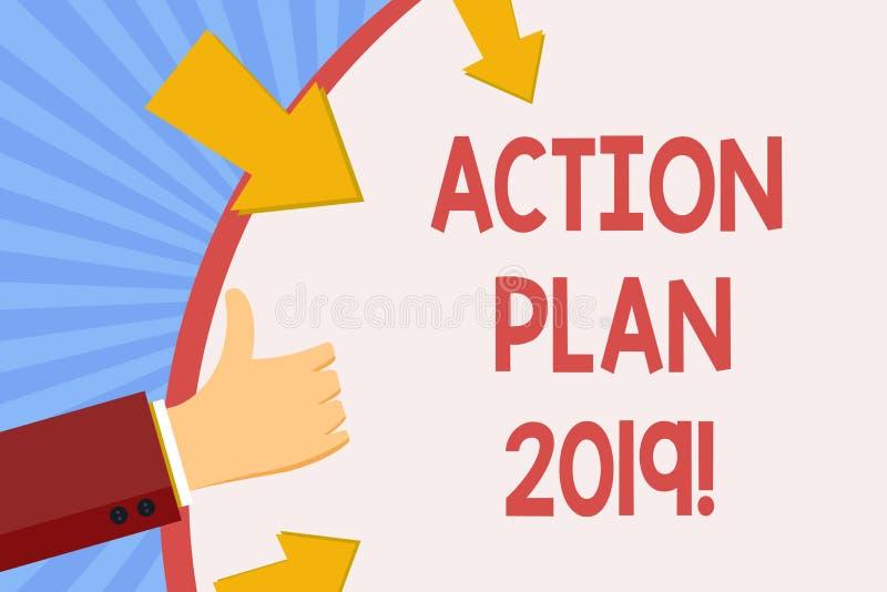 Skriva anmärkningsvisninghandlingsplanen 2019 Affärsfoto som ställer ut för att göra listan i mål för upplösning för nytt år för  stock illustrationer