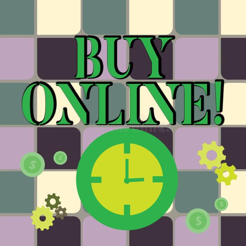 Skriva anmärkningsvisningköpet direktanslutet Affärsfoto som ställer ut den elektroniska komrets som låter konsumenter direkt köp royaltyfri illustrationer