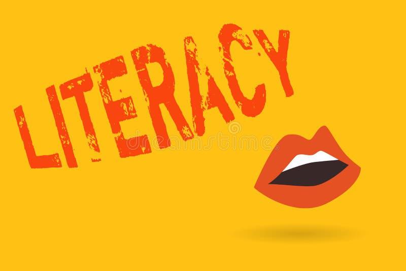 Skriva anmärkningsvisningläs-och skrivkunnighet Affärsfoto som ställer ut kapacitet att läsa och skriva kompetens eller kunskap,  royaltyfri illustrationer
