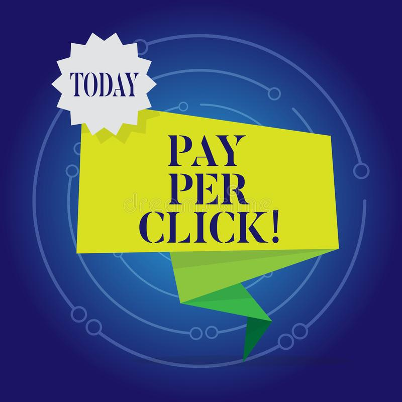 Skriva anmärkningsvisninglön per klick Att ställa ut för affärsfoto får pengar från besökareannonser som annonserar SEO Marketing stock illustrationer