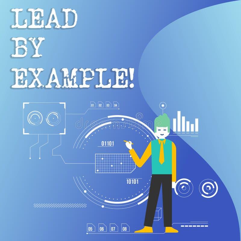 Skriva anmärkningsvisningledning vid exempel Affärsfoto som ställer ut organisation för ledarskapledningmentor stock illustrationer