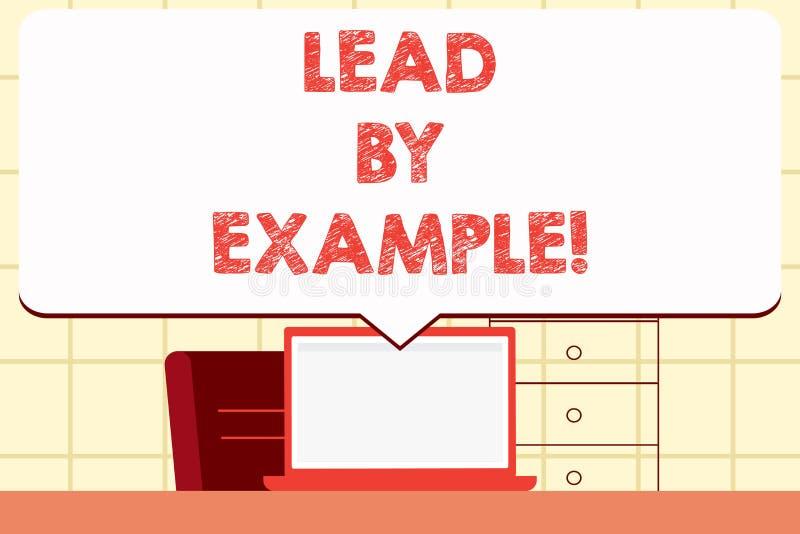 Skriva anmärkningsvisningledning vid exempel Affärsfoto som ställer ut organisation för ledarskapledningmentor royaltyfri illustrationer