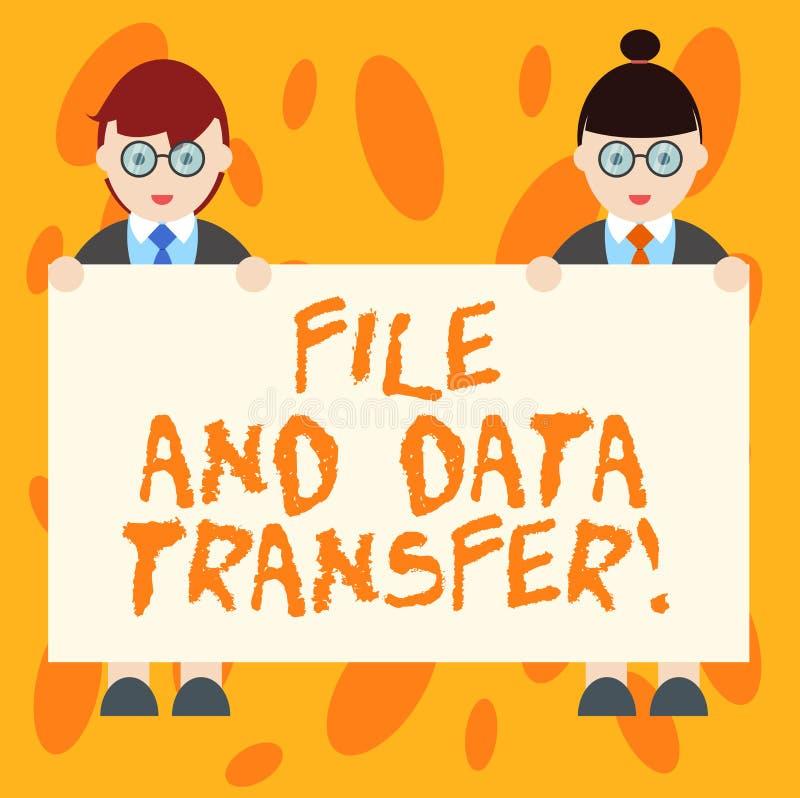 Skriva anmärkningsvisningmappen och dataöverföring Affärsfoto som direktanslutet ställer ut överförande information vid internet royaltyfri illustrationer