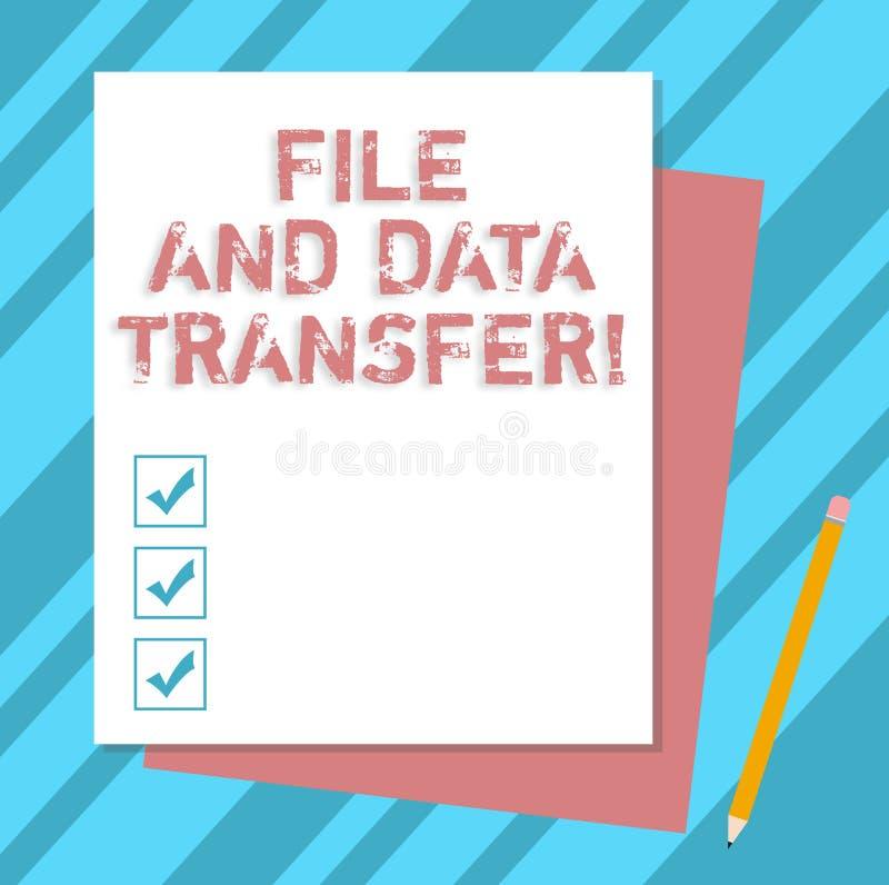 Skriva anmärkningsvisningmappen och dataöverföring Affärsfoto som direktanslutet ställer ut överförande information vid internet stock illustrationer