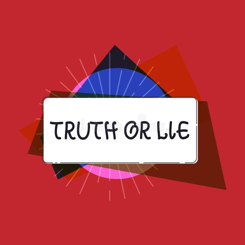 Skriva anmärkningsvisningsanning eller lögn Affärsfotoet som ställer ut beslut mellan att vara ärligt ohederligt primat tvivel, a royaltyfri illustrationer