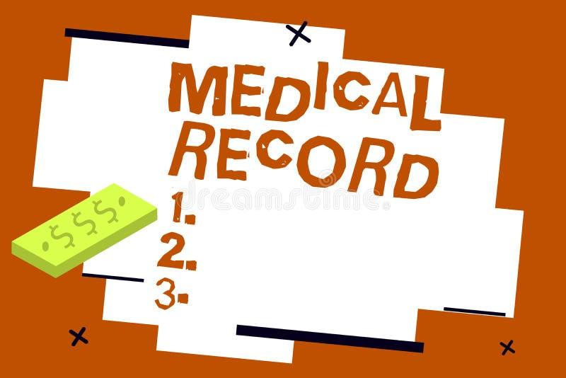 Skriva anmärkningsvisningsjukdomshistorien Affärsfotoet som ställer ut i skriftlig information om beställning om ett visande s, ä stock illustrationer