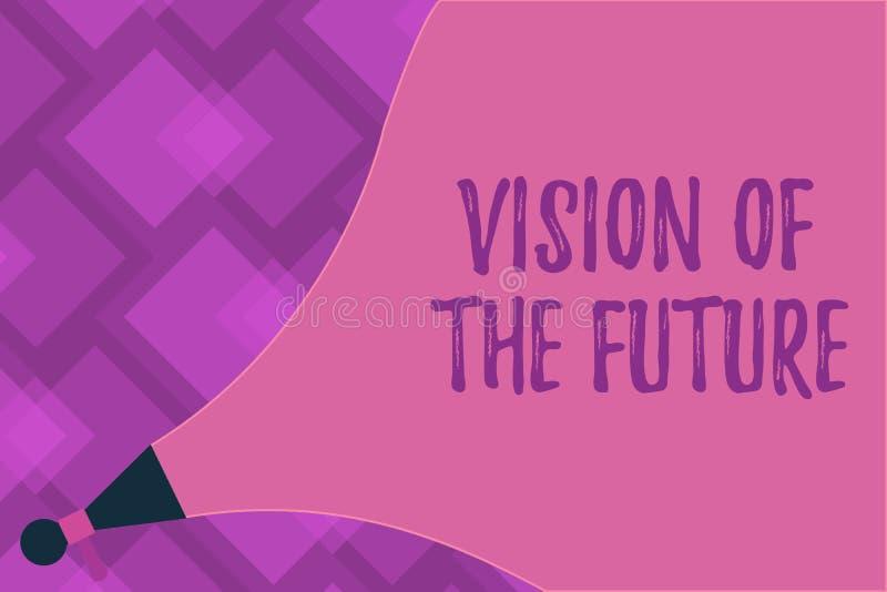 Skriva anmärkningsvisningvision av framtiden Affärsfoto som ställer ut se något framåt en klar handbok av handling vektor illustrationer