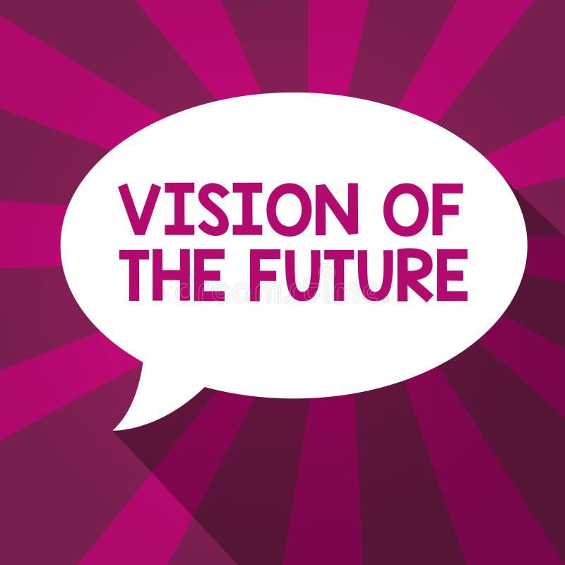 Skriva anmärkningsvisningvision av framtiden Affärsfoto som ställer ut se något framåt en klar handbok av handling stock illustrationer