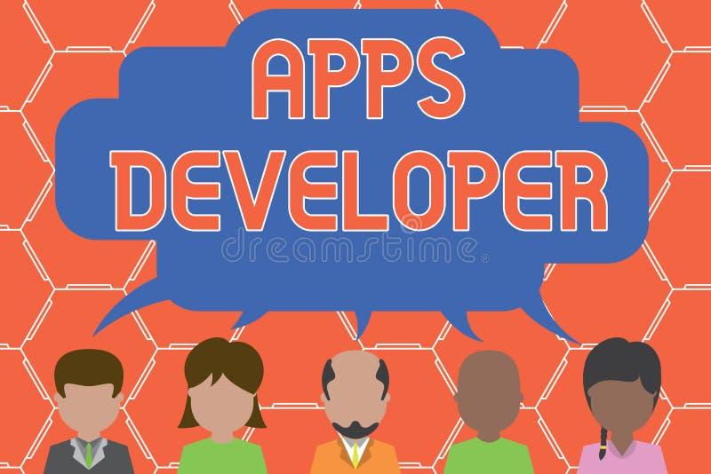 Skriva anm?rkningen som visar Apps b?rare Aff?rsfoto som st?ller ut den grafiska konstn?ren Software Programmer och analytikeren  vektor illustrationer