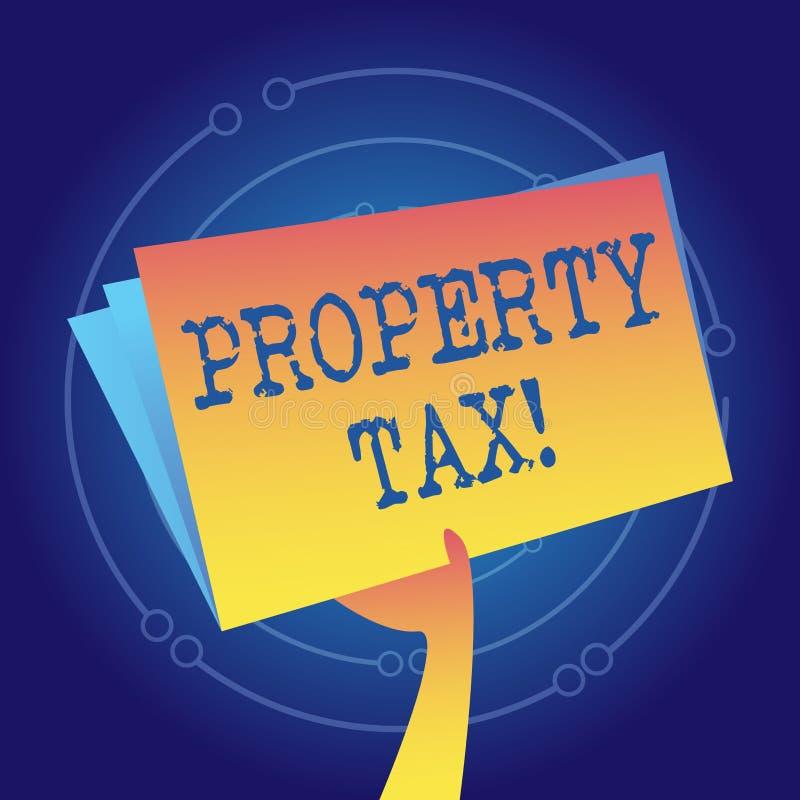 Skriva anm?rkningen som visar fastighetsskatt Affärsfoto som ställer ut räkningar som uttaxeras direkt på din egenskap av regerin royaltyfri illustrationer