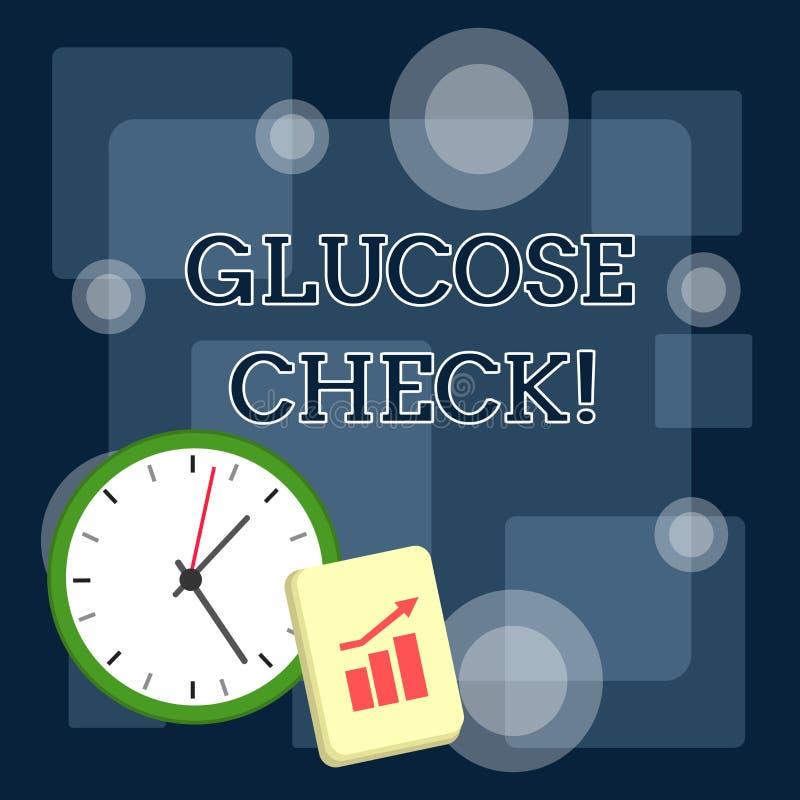 Skriva anm?rkningen som visar glukoskontrollen Aff?rsfoto som st?ller ut tillv?gag?ngss?ttet som m?ter beloppet av socker i ett b stock illustrationer