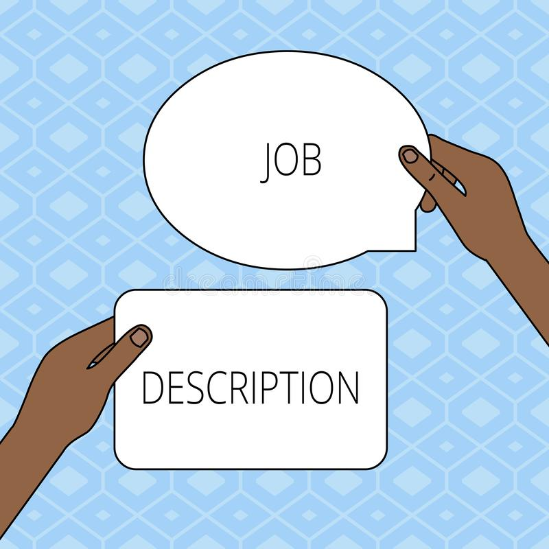 Skriva anm?rkningen som visar Job Description Affärsfotoet som ställer ut ett formellt konto av anställd s, är ansvar stock illustrationer