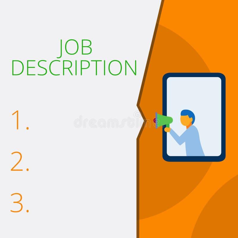 Skriva anm?rkningen som visar Job Description Affärsfotoet som ställer ut ett formellt konto av anställd s, är ansvar vektor illustrationer