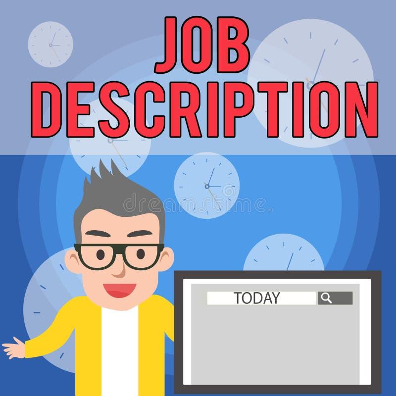 Skriva anm?rkningen som visar Job Description Affärsfotoet som ställer ut ett formellt konto av anställd s, är ansvar royaltyfri illustrationer