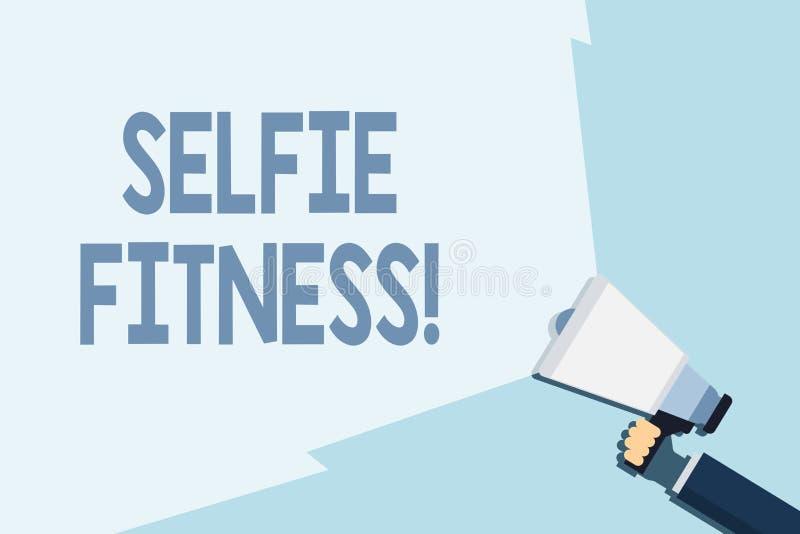 Skriva anm?rkningen som visar Selfie kondition Aff?rsfoto som st?ller ut ta bilder av honom under genomk?rare eller inom stock illustrationer