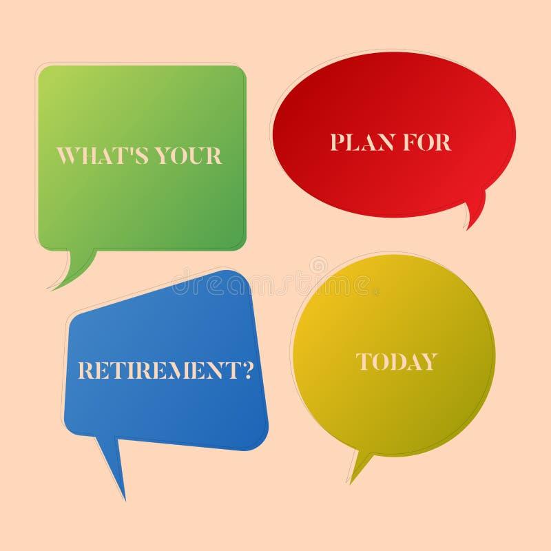 Skriva anm?rkningen som visar vilket S ditt plan f?r Retirementquestion Att st?lla ut f?r aff?rsfoto t?nkte n?gra plan, n?r du v? vektor illustrationer