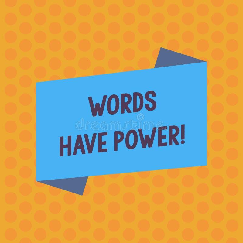 Skriva anm?rkningsvisning har ord makt Aff?rsfoto som st?ller ut, som de har kapacitet att hj?lpa att l?ka men eller skada n?gon stock illustrationer