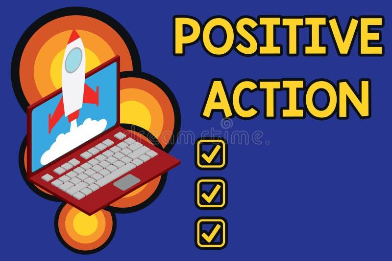 Skriva anm?rkningsvisning positiv handling Affärsfoto som ställer ut göra bra inställning mot bestämd lägebot stock illustrationer