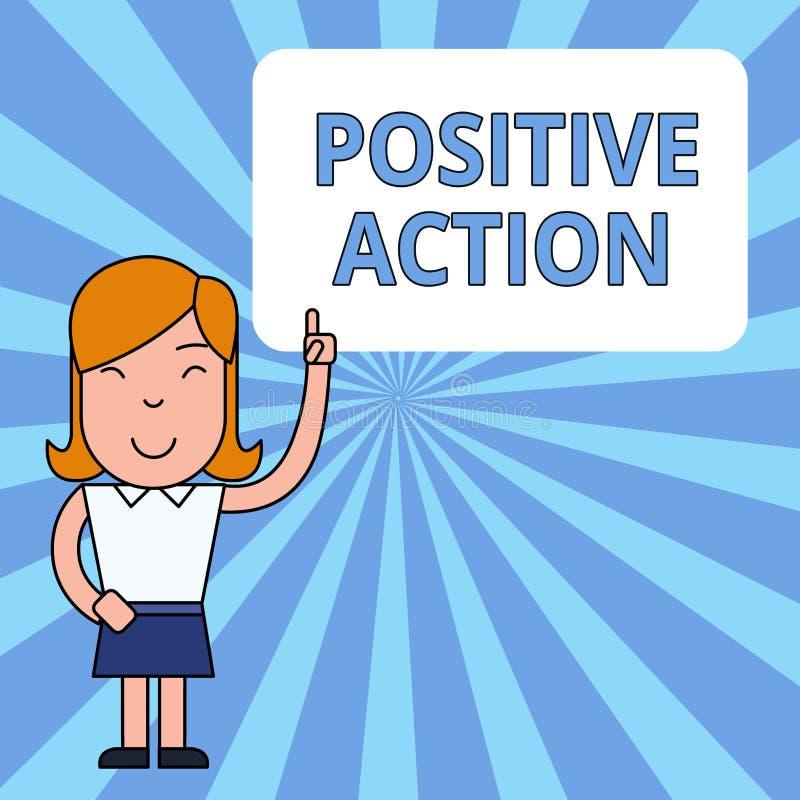 Skriva anm?rkningsvisning positiv handling Affärsfoto som ställer ut göra bra inställning mot bestämd lägebot vektor illustrationer