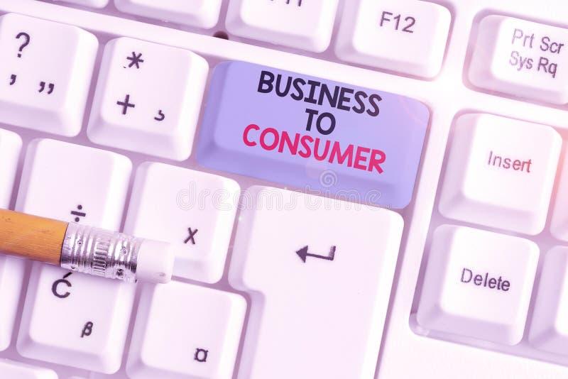 Skriva anteckning som visar från företag till konsument Direkt transaktion för affärsfotovisning mellan företag och slutanvändare arkivbild