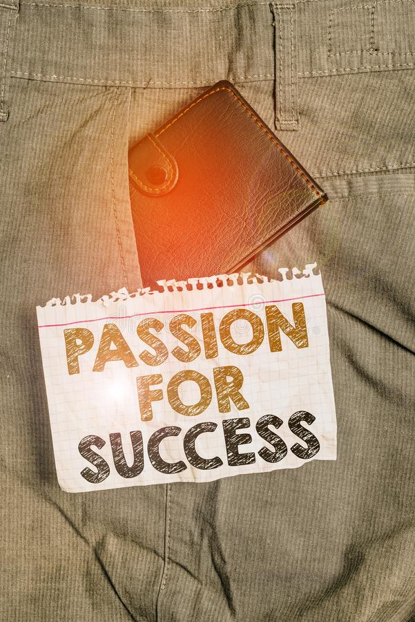 Skriva anteckning som visar passion för lyckade Affärsfotovisning Entusiasm Zeal Drive Motivation Spirit Etik Liten arkivfoton