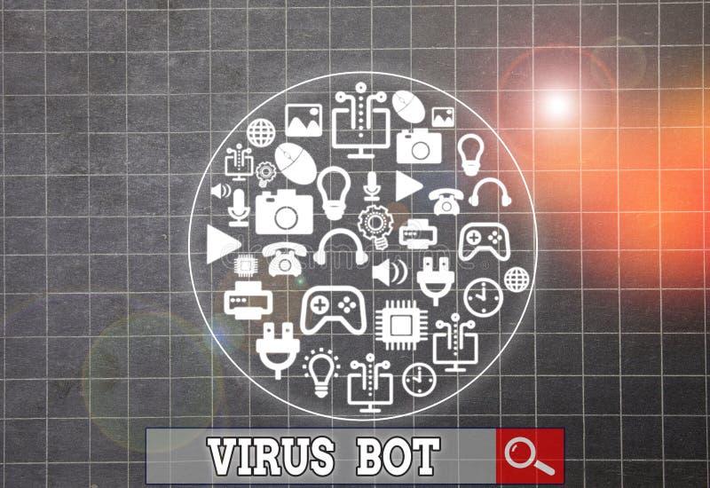 Skriva anteckning som visar Virus Bot Affärsfotovisning med skadlig självförökande skadlig kod utformad för att infektera en värd royaltyfria foton