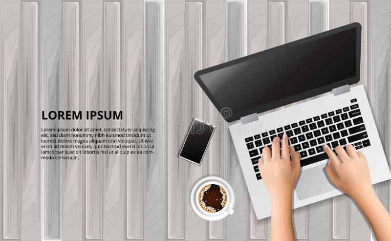 Skriva bärbara datorn på trätabellen med illustrationen av den smarta telefonen och kaffe royaltyfri illustrationer