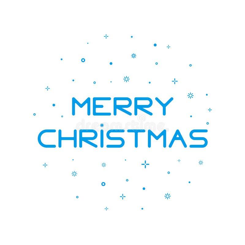 Skriva bakgrund för glad jul med snöflingor i översiktsstil stock illustrationer