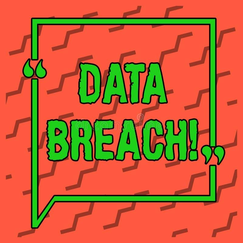 Skriva brytningen för anmärkningsvisningdata Affärsfoto som ställer ut säkerhetshändelsen som känsliga förtroliga data är i stock illustrationer