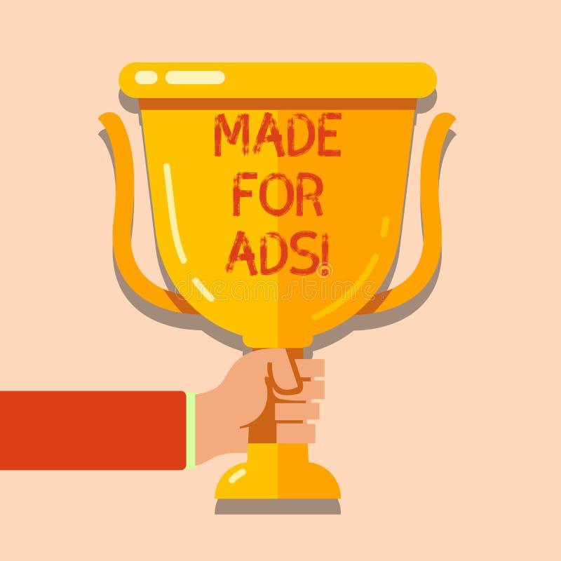 Skriva den gjorda anmärkningsvisningen för annonser Affärsfoto som ställer ut marknadsföringsstrategidesigner för promotionals fö vektor illustrationer