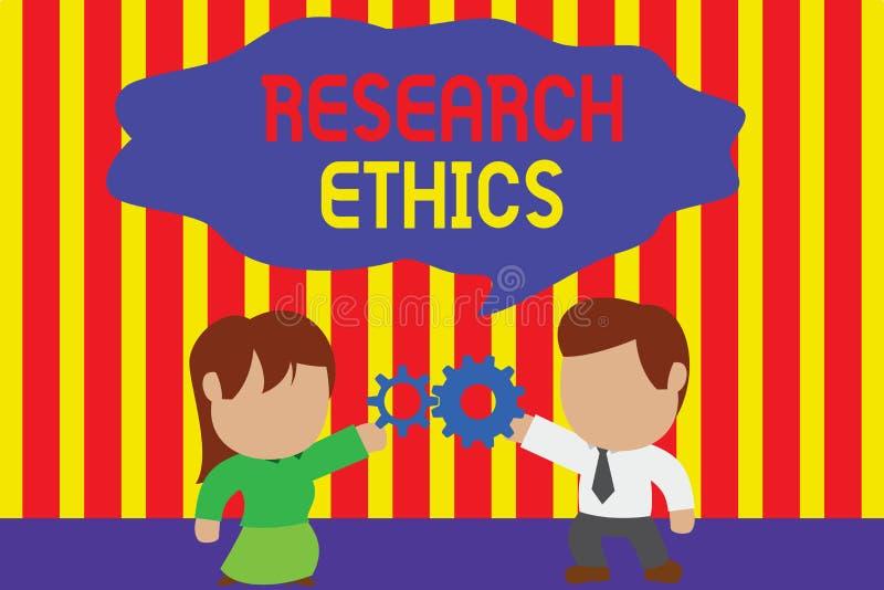 Skriva etik f?r anm?rkningsvisningforskning Ställa ut för affärsfoto som intresseras i analysofethicalissuesna som lyftte royaltyfri illustrationer