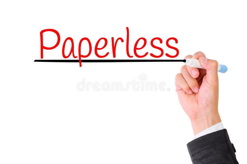 Skriva för affärshand som är paperless royaltyfri fotografi