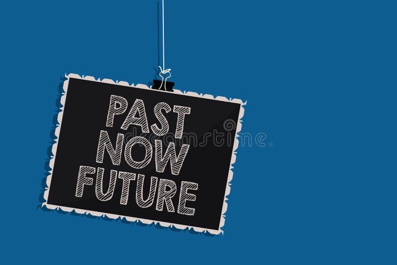Skriva framtid för anmärkningsvisningforntid nu Affärsfotoet som ställer ut närvarande följa för sista gången, åtgärdar Destiny M stock illustrationer