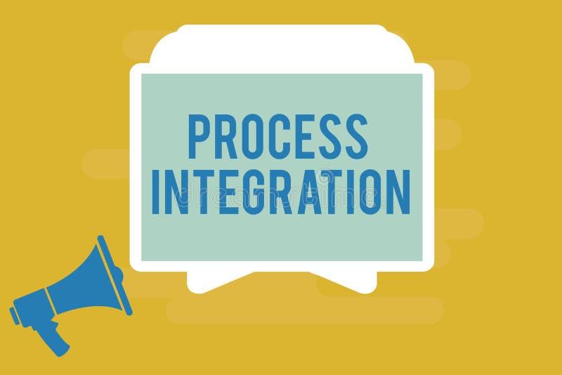 Skriva integration för anmärkningsvisningprocess Affärsfoto som ställer ut uppkopplingsmöjlighet av service och information om sy vektor illustrationer