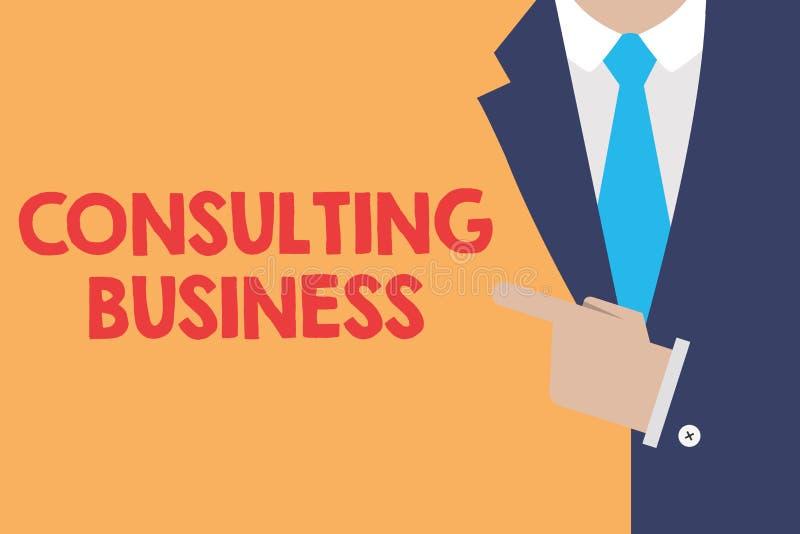 Skriva konsulterande affär för anmärkningsvisning Affärsfotoet som ställer ut experter för konsulteringfirma, ger yrkesmässig råd stock illustrationer