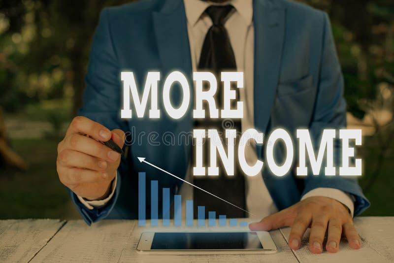 Skriva mer inkomst för handskrift Begrepp som innebär att extra pengar tas emot för utbyte av varor eller tjänster royaltyfri bild