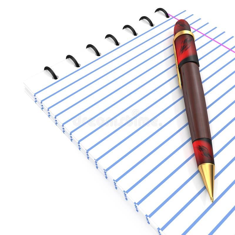 Skriva och anteckningsboken stock illustrationer
