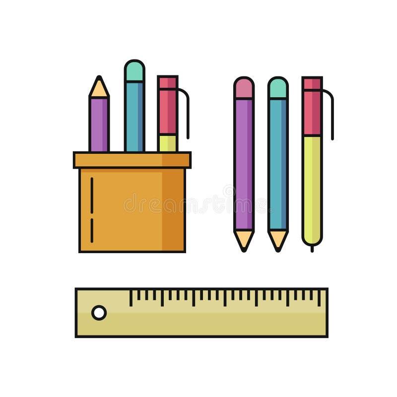 Skriva och blyertspennor, uppsättning för linjalvektorillustration på vit vektor illustrationer
