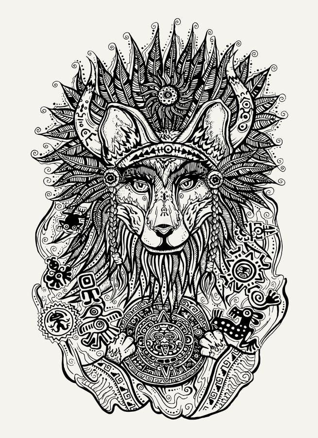 Skriva och ink illustrationen av den indiska räven som rymmer den Mayan kalendern vektor illustrationer