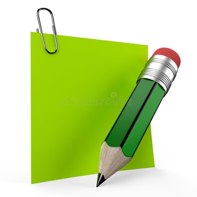 Skriva på kontorsanmärkning med en grön blyertspenna royaltyfri illustrationer