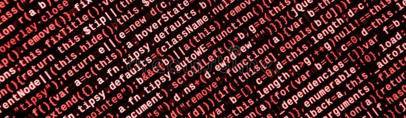 Skriva programmera kod på bärbara datorn Digital binära data på datorskärmen arkivfoto
