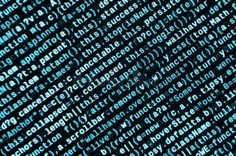 Skriva programmera kod på bärbara datorn Digital binära data på datorskärmen fotografering för bildbyråer