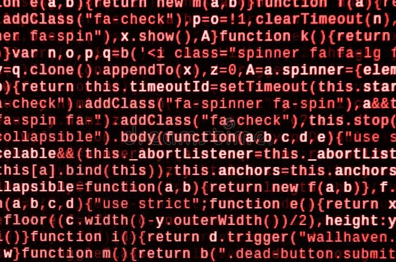 Skriva programmera kod på bärbara datorn Digital binära data på datorskärmen royaltyfri foto