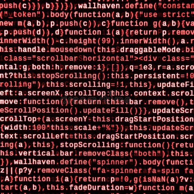 Skriva programmera kod på bärbara datorn Digital binära data på datorskärmen arkivbild