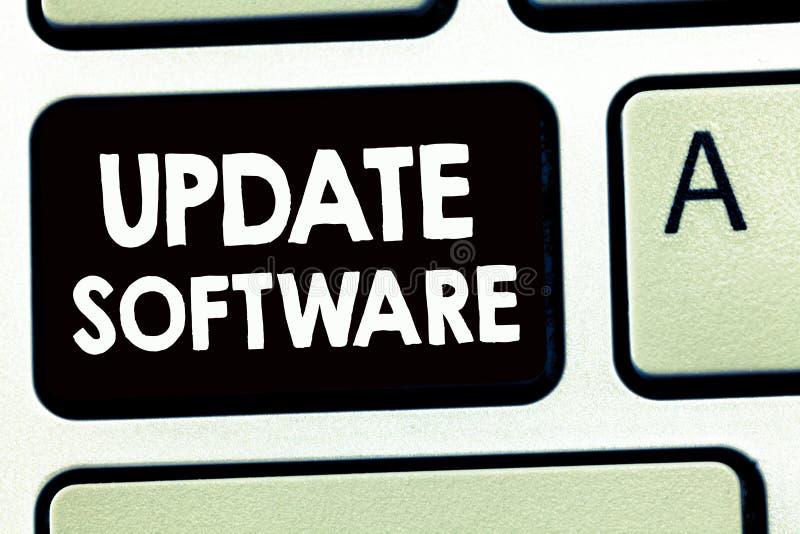 Skriva programvara för anmärkningsvisninguppdatering Affärsfoto som ställer ut byta ut program med en nyare version av samma prod royaltyfri illustrationer