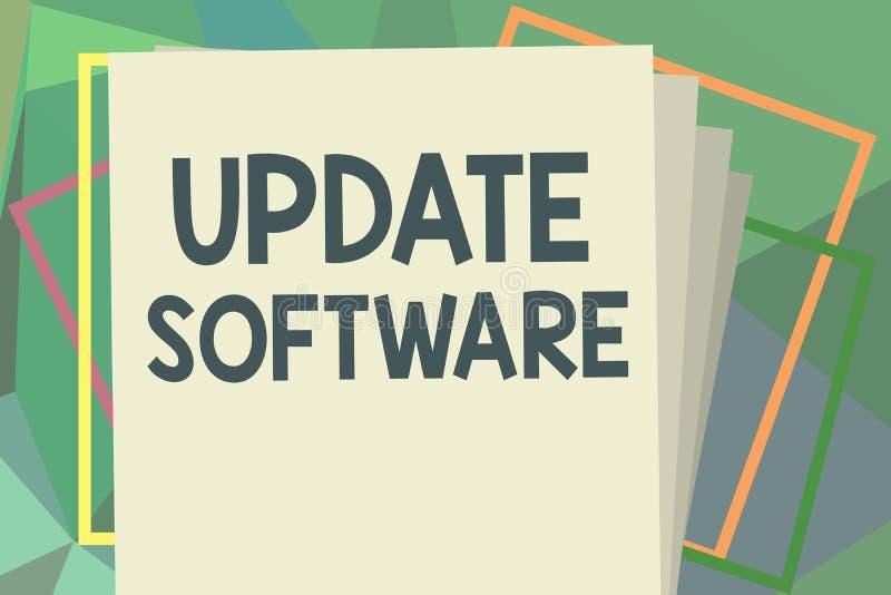 Skriva programvara för anmärkningsvisninguppdatering Affärsfoto som ställer ut byta ut program med en nyare version av samma prod stock illustrationer