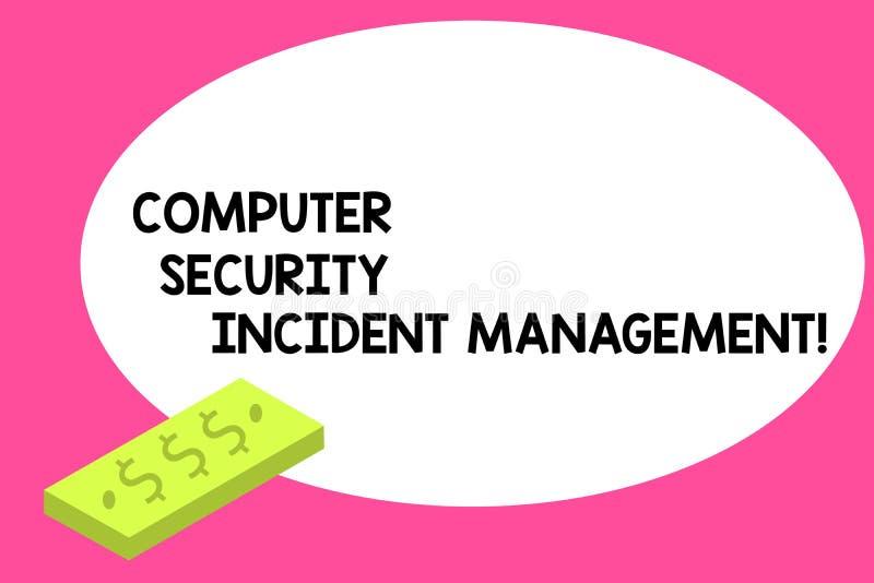 Skriva säkerhet för anmärkningsvisningdator infallande ledning Affärsfoto som ställer ut den analysisaging enheten för säker cybe stock illustrationer