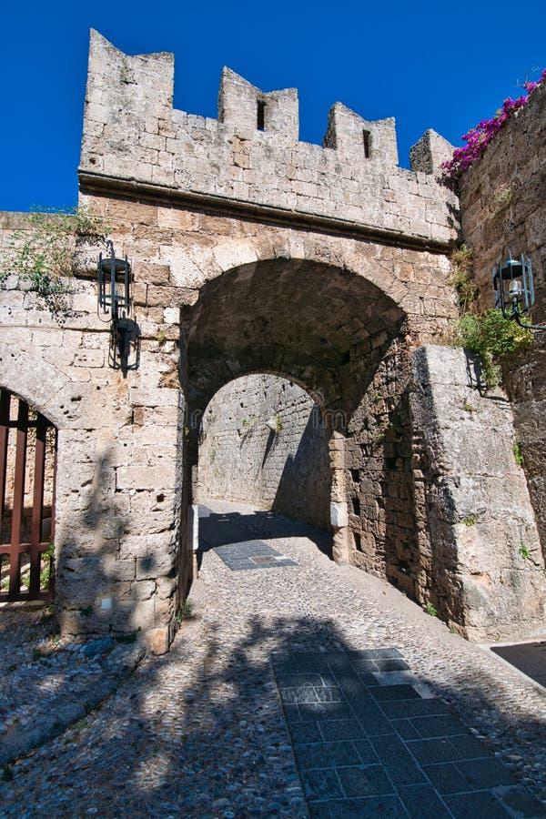Skriva in staden, Rhodes royaltyfri fotografi